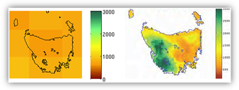 Illustration showing the much lower amount of detail in a global climate model simulation of historic rainfall over a small region compared to the observed pattern.