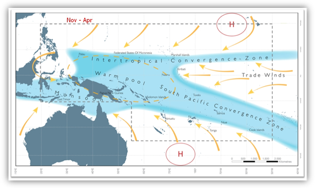 Map of the western Pacific region showing the locations of the main climatic influences.